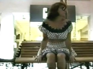 Wife Tries 1St Time Flashing Slit In Public Place On Bench