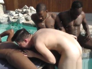 Interracial gay gangbang and facials