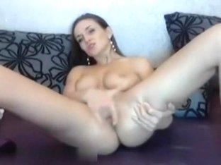 Lovely masturbating at cauch