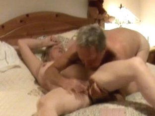 Hidden camera shows mature treated to oral sex.