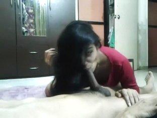 Desi babe giving head to BF