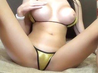 CutieBambi in a yellow bikini