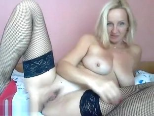 Blonde Mila1234 in black stockings