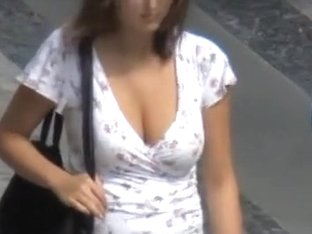 Unsuspecting females acquire their large breasts filmed outside.