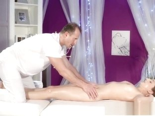 Massage Rooms Sensual orgasm and creampie for young Spanish hottie