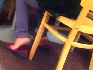 Candid Arab Woman Shoeplay Flats Feet