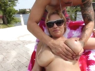Oily juggs babe banged