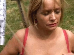 Bulky aged housewife with large mambos masturbates outdoors