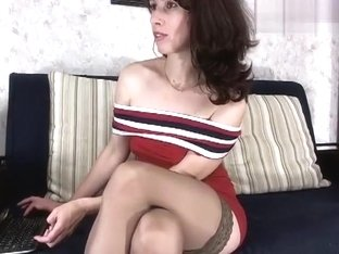 Brunette Avalanche shows off her sex toy