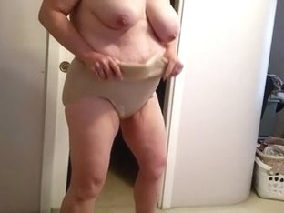 putting her big tits & nipples away for the day