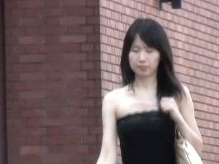 Hot dark-haired Asian got her top sharked by some stranger
