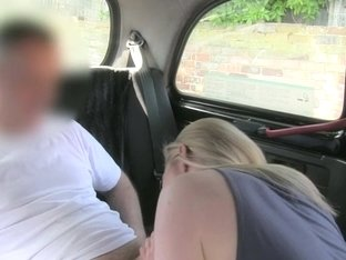 Concupiscent golden-haired doxy with large scones pounded in the backseat