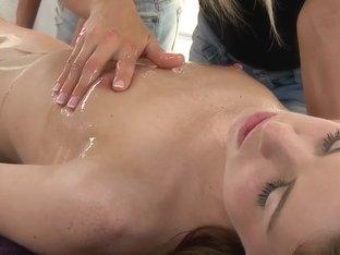 Lesbian pussy massage. Pussy closeup