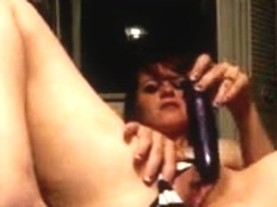 Raven-haired hotty rides her sex tool like a wild cowgirl
