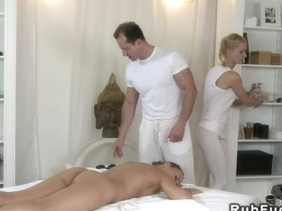 Couple of masseurs fucks hairy blonde