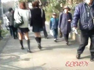 Busy street sharking scene of lovable Japanese hottie and some stranger