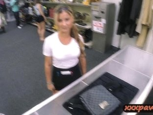 Sexy waitress fucked at the pawnshop to earn extra money