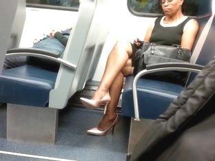 Mature Ebony Lady Sexy Legs & High Heels