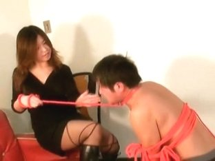 Dominant Jap hotties train their slaves