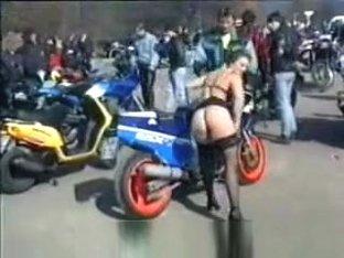 Moto Babe Strip in Public