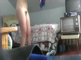 Hidden cam in girls bedroom catches her naked
