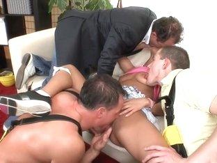Fabulous pornstar Nikky Thorne in crazy group sex, college sex scene