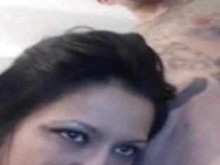 Sucking her boyfriend's long dick on webcam