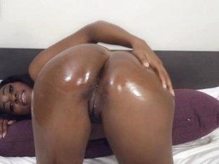 Oiled black amateur on vanilla dick