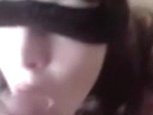 Blindfolded floozy cum splatered