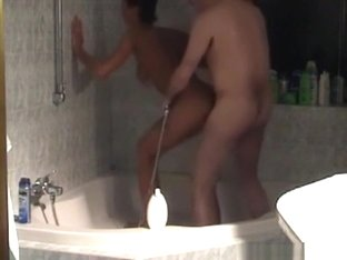 Milf gets doggystyle fucked by her husband in the bathtub