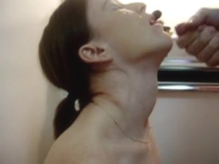 Side view of a slobbering soaked oral-stimulation and facial
