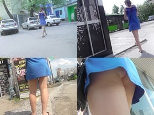 A-line skirt on skinny ass of a redhead in upskirt vid
