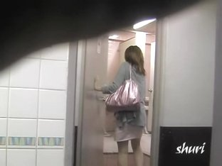 Toilet sharking surprise with brown-haired pretty vixen being totally stunned