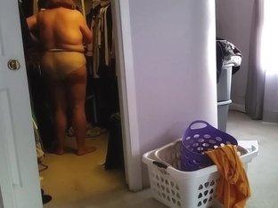 white pants in seethrough pantyhose, black girdle