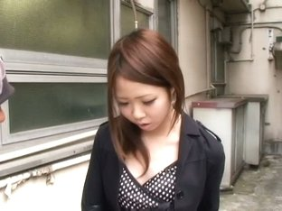 Nice down blouse of a cute asian babe wearing black bra