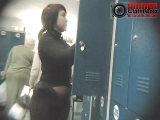 Busty curvy brunette wife exposed in a spy cam xxx video