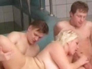 Blond big beautiful woman-Mamma in a Saunaclub-3Some with juvenile Boy-Friends