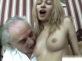 Old Amputee Enjoys Banging Slutty Blonde Babe