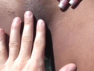 Hot black gf bikini stripteasing by the pool