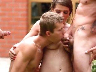 Bisex dudes shoot cum in hot orgy
