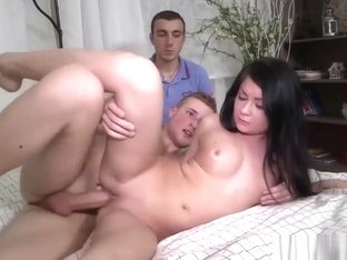 Boyfriend watches as a rich man fucks his lady's tight hole