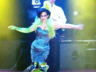Burlesque Strip SHOW 346 Miss Indigo Blue Nude Green