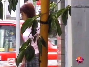 Japanese housewife sharked with no panties on the street