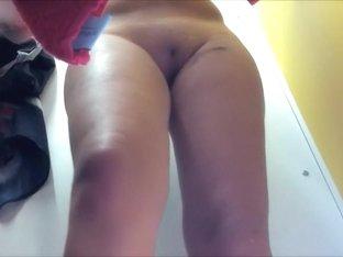 Cutie gets her smooth muff between legs voyeured
