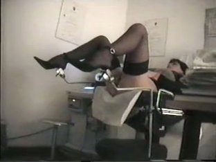Girl in stockings and heels is under voyeur medical exam