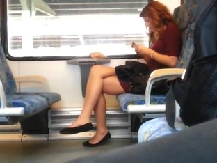 Redhair woman with wonderful legs