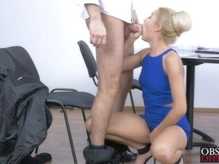 Naughty blonde babe Cherry Kiss riding a cock in office