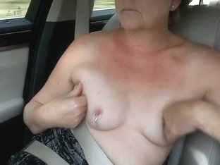 Small titted milf suzy topless car drive