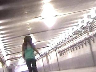 Slender Japanese girl gets her blouse sharked