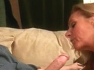 Blonde Mature pulls out a cock and sucks it clean